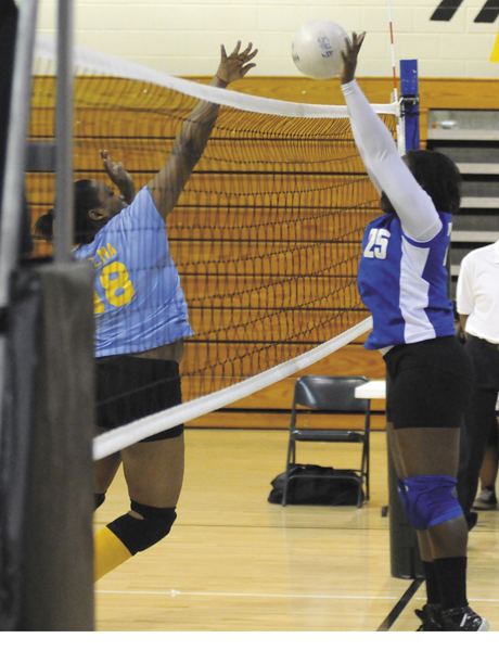 Austin Nelson/The Greenville Advocate -- Kierra Carter comes up with a block against Selma Monday.