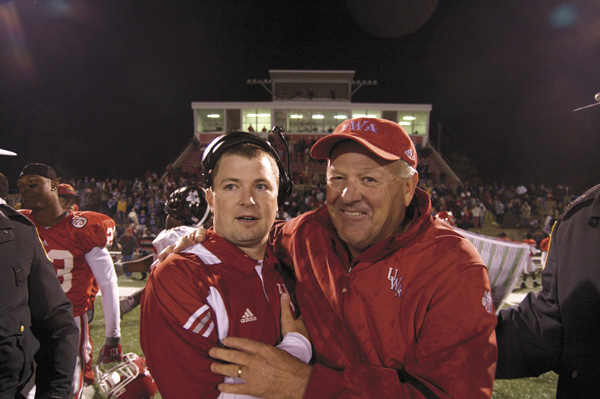 Stewart Gwin/UWA -- Offensive coordinator Will Hall and head coach Bobby Wallace celebrate the Tigers' upset of Valdosta State Thursday night.