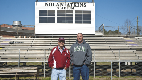 TITLE WINNERS: Former Sweet Water Coach Nolan Atkins and current Coach Stacy Luker have nine football championships between them.