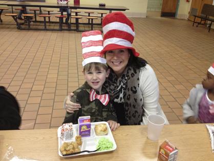 "Dana Eddins with son, Anderson, enjoy a ""Green Eggs and Ham"" lunch."