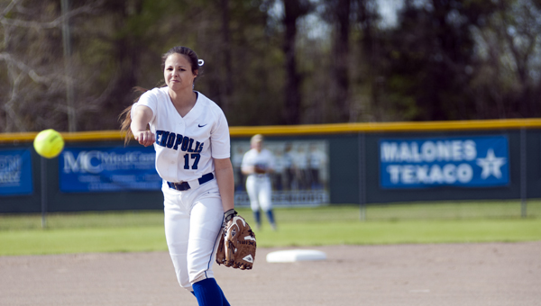 Danielle Tatum pitched for Demopolis in their 7-0 loss to Hillcrest on Monday night.