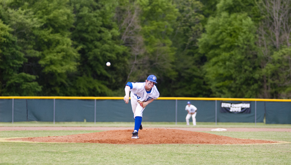 Demopolis junior Tyler Oates pitched a scoreless third inning for the Tigers in their 9-7 loss to Sweet Water on Tuesday night.