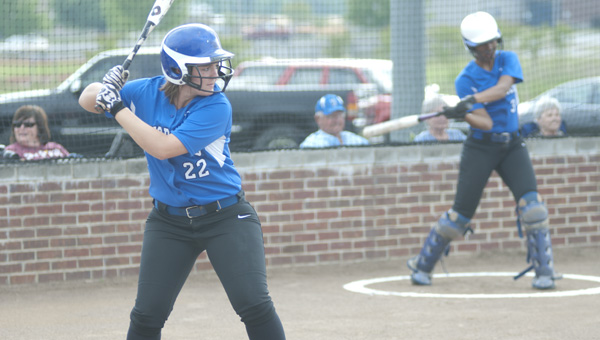 Demopolis senior Sydney Colyar waits for a pitch in Tuesday night's game against Greenville.