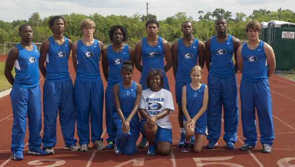 Twelve members of the DHS track team qualified for the state meet. Shown on the front row, from left, are Darneshia Harris, Samantha Williams and Gracie Boykins; and on the back row, from left, are DJ Howell, Rodney Harper, Alston Dinning, Tommy Wilson, Demetrius Kemp, Bobby Taylor, Cortez Lewis and Peyton Pearson.