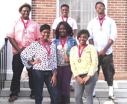 The members of LHS Team White were, front row, left to right, Kathelin Bishop, Diamond Miller and Spencer; and back row, left to right, DeQuinton Bell, Tahj Johnson and Jeffery Stacy.