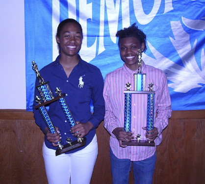 Alexis Jones and Jonniece Collins earned defensive and offensive player of the year awards, respectively, for the Demopolis High School Lady Tigers.