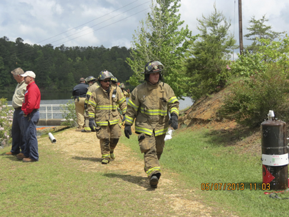 Lt. Justin King and Firefighter Sam Curtis of Demopolis Fire and Rescue participated in the AMAS regional drill in Tuscaloosa on Tuesday.