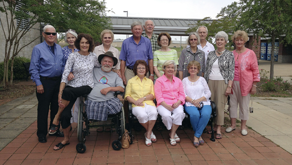 Shown are (front row, from left) Baldwin Ware, Teddy Porter, Alene Hall Branch, Jean Bath Richie, Margaret Spidle Swanzy, Rose Traeger Sumerel, (second row) Bobby Jackson, Rachel Watson Sugg, Boo Rives Wilson, Sam Neilson, Alice Hall Washburn, Gwen Ford Puzak, (back row) Brad Collins, Gwinn Etheridge, Ellen and Manning McGuire. Not pictured is Raymond Waites, who had to leave early.