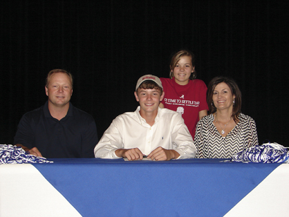 Logan Boone, pictured with Raymond, Lauren and Teresa Boone, signed a tennis scholarship to UWA.
