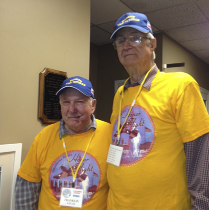 Joe Hill, right, and his friend from the Navy, Franklin Lucas, spent the day together during their Honor Flight tours. They served on the USS Whiteside together from 1952-1956.