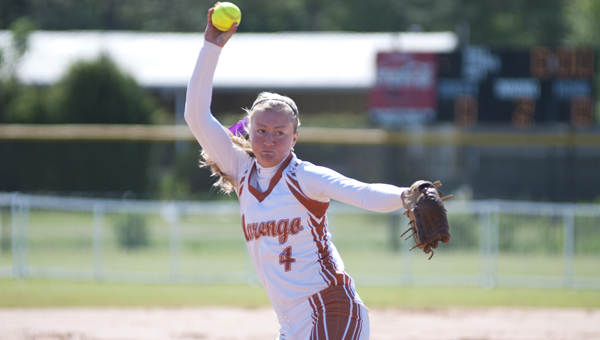 Andrea Edmonds pitched for Marengo Academy in their 8-5 win over Lakeside on Saturday in Montgomery.