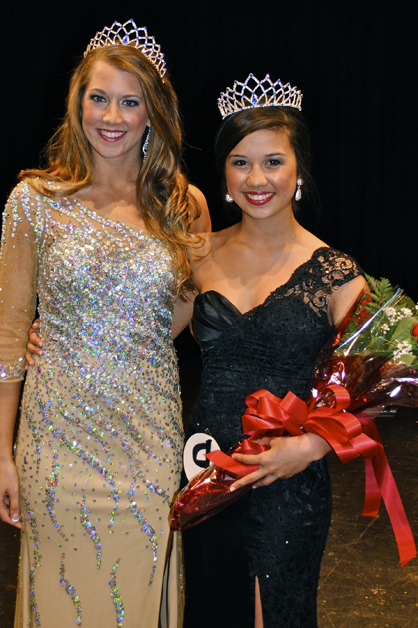 CUTLINE: 2012 Miss Paragon Erica Quigley crowns 2013 Miss Paragon Paige Ip.