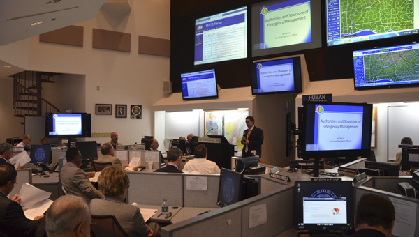 Jeff Byard, executive operations officer with Alabama's Emergency Management Agency, talks to about 60 participants of a preparedness workshop Thursday at the Emergency Operations Center in Clanton.