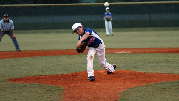 Andrew Fuqua pitches for the Demopolis 12U All-Stars in their game Friday night against Greensboro.