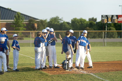 The Demopolis 12U All-Stars celebrate after they defeated Butler in the first game of the series 8-6.