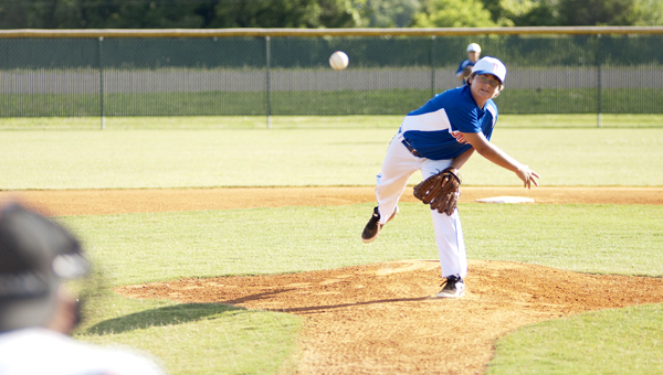 Hunter Thrash was the starting pitcher for the Demopolis 12U All-Stars in the first game of the District 10 championship series.