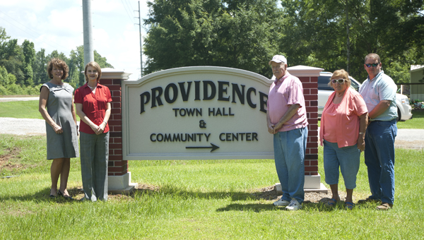 The town of Providence received a new sign thanks to the Alabama Power Foundation Gateway Grant Program. Shown are Diane Brooker with Alabama Power; Brenda Tuck, executive director of the Marengo County Economic Development Authority; John Ed Crawford Sr., mayor of Providence; Faye Porter, Providence council member; and John Crawford Jr., Marengo County commissioner.