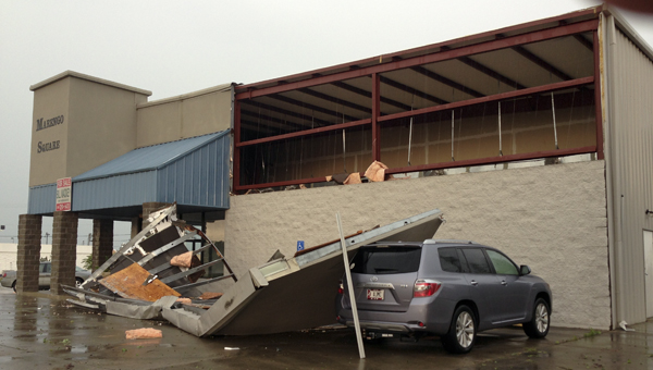 A storm Monday afternoon damaged the building formerly occupied by Tootsie's.