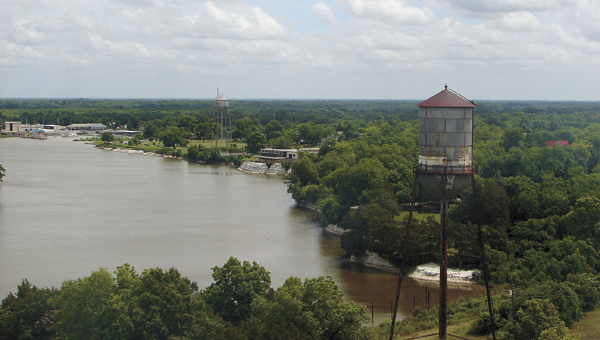 The view from the new Demopolis Water Tower, looking back toward the civic center.