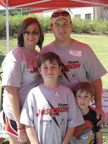 Ashley and Scott Hutton with sons Jackson and Chandler at their first Step Out Walk to Stop Diabetes walk in 2011.