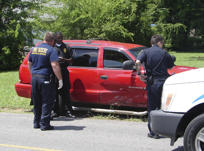 The driver of the Dodge Durango ran a stop sign and was T-boned by another driver.