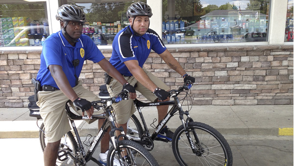 Officers William Gulley and Marcus Williams of the Demopolis Police Department use bicycles to patrol the city when they are not working as School Resource Officers.