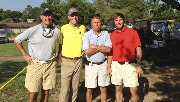 Terry Lay, Luke Bielawski, Jimmy Yelverton and Brent Dye played golf at the Demopolis Country Club on Thursday, July 18 to help raise money for Get on the Green, an organization raising money for underprivileged children.