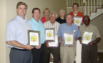 Shown are patron-level members. From left, Jim Stanford with Roberston Bank Company; Jeff McAfee with Jackson-Newell Foundation; Claud and Cindy Neilson; Jan McDonald representing the Demopolis Rotary Club; John Cox Webb IV; Louise Webb Reynolds; and Charles Hall with the US Jones Grand Reunion. Other patron members are CEMEX Southeast LLC; Kenneth and Rebecca Marlowe; and the late Betty McCormick.