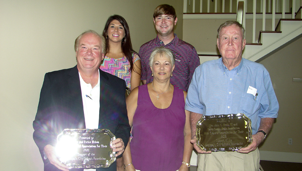Executive-level members. From left, Dan and Vickie Wilson; Joe and Blair Parr of Parr's, Inc.; and John Cox Webb representing the John C. Webb III and Marie Suttle Webb Foundation. Other executive level members are The Daniel Foundation of Alabama; Foster Farms; Georgia-Pacific; J.R. Rivas; and RockTenn Company.
