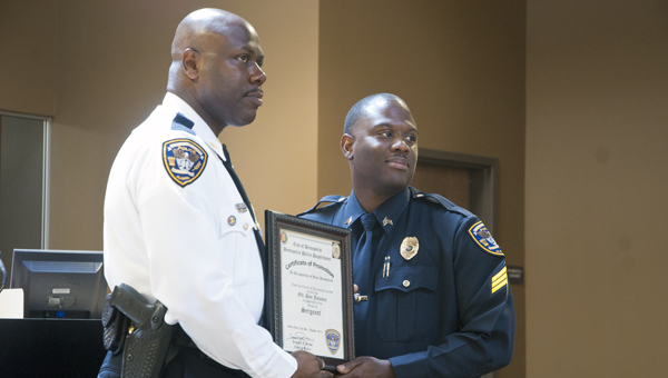 Sgt. Don Johnson received his promotion to Sergeant on Sunday from DPD Chief Tommie Reese. Johnson was one of three DPD officers to receive promotions during the ceremony.