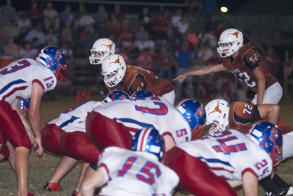 Hayden Hall (#52) led the Longhorns on defense with 12 tackles, a sack and a forced fumble.
