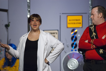 Science Officer (Laura Clements) has words with Captain Tempest (James Robinson).