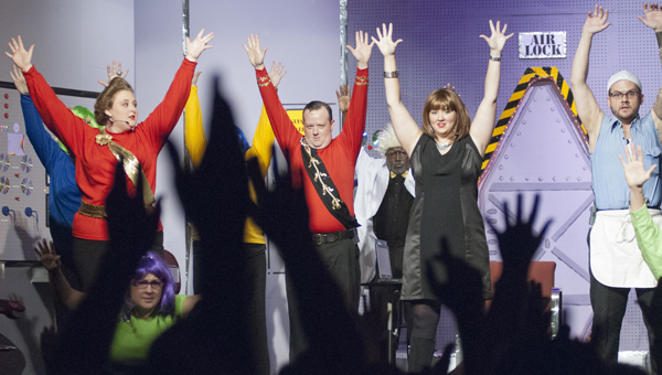 """THROW YOUR HANDS UP: Not quite a rock concert, but audience participation is key to one scene in """"Forbidden Planet."""""""