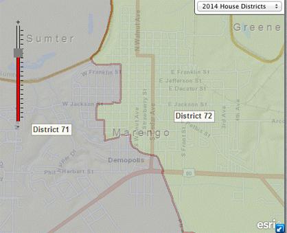 Close up of District 71/72 boundary through Demopolis. (Graphic from alabama.gov)