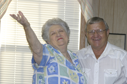 Retired Jefferson Postmaster Patsy Rogers and Andy Morgan at a club meeting.