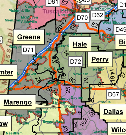 This map shows the multiple districts that Marengo County is divided into for the next 10 years. Demopolis is split between Districts 71 and 72.