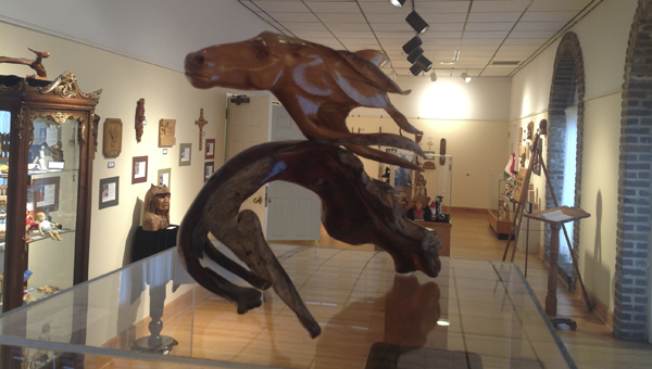 Carvings from the Tannehill Woodcarvers Exhibit at the University of West Alabama's Webb Hall Gallery.