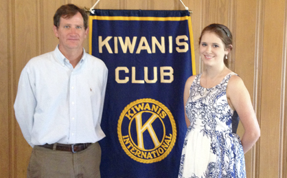 Ashley Neuhauser, right, spoke to the Demopolis Kiwanis Club on Tuesday about the TIDE program that helps those ages 50 and older with insomnia and depression. She is shown with club president Craig Schumacher.