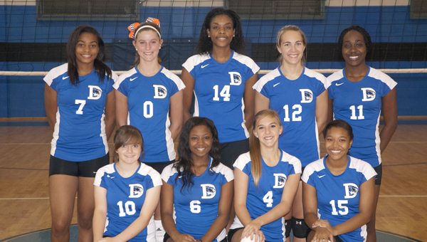 The members of the 2013 DHS volleyball team are Katie Marques, Ivery Moore, Brianna Pruitt, Riley King, Jade Montgomery, Alex Barnett, Caleb Washington, Abbe Sims and Jacqueline Banks.