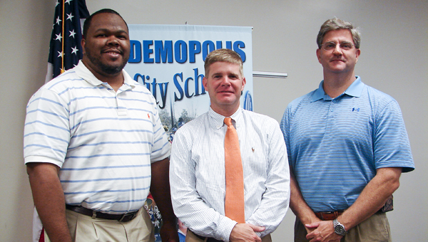 Demopolis City Schools Foundation welcome new members Ronnie Abrams, Blaine Hathcock and Jim Stanford during Tuesday's meeting.