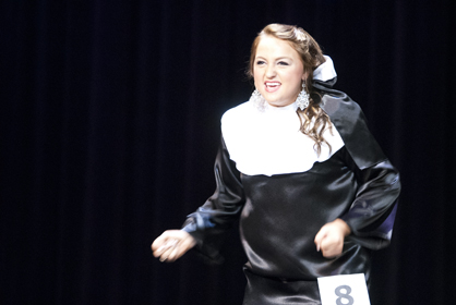 """Emily Thompson sings """"I Just Want to be a Star"""" from """"Nunsense"""" for her talent."""