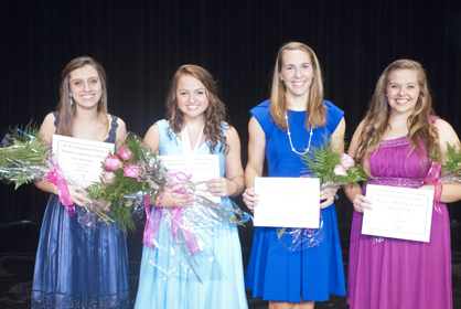 The 2014 Distinguished Young Woman of Marengo County is Emily Thompson (second from left). As shown from left is first alternate Rachel England, second alternate Riley King and Spirit of DYW winner Baleigh Grace.