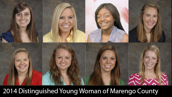 Eight high school senior girls will participate in next Saturday's Distinguished Young Woman of Marengo County scholarship program.