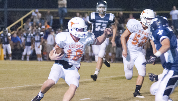 Hayden Huckabee led the Longhorns to a 37-0 victory over Patrician Academy on Thursday. He had 145 yards rushing and three touchdowns.