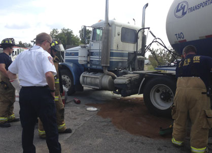 Demopolis Fire and Rescue works to clean up after a small truck fire Wednesday afternoon.