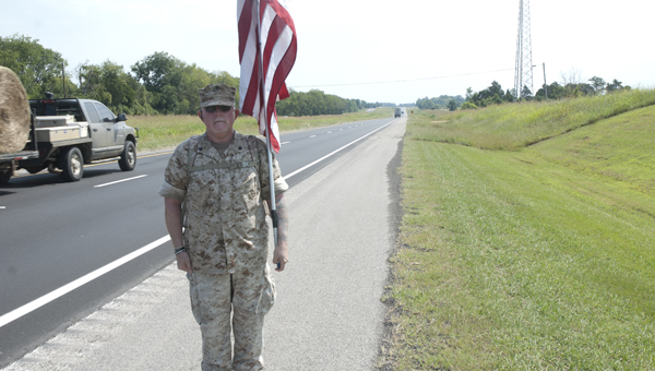 Mac McQuown is walking across the United States to raise money and awareness for veterans.