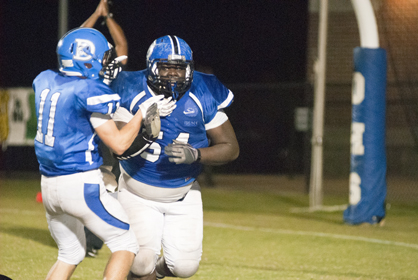 Demopolis defensive tackle Hollis Bright celebrates after forcing a safety late in the fourth quarter to give Demopolis another chance to win the game.