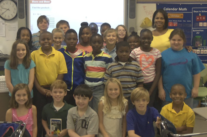 Stephanie Pittman's class at U.S. Jones Elementary had the most library card sign-ups in September.