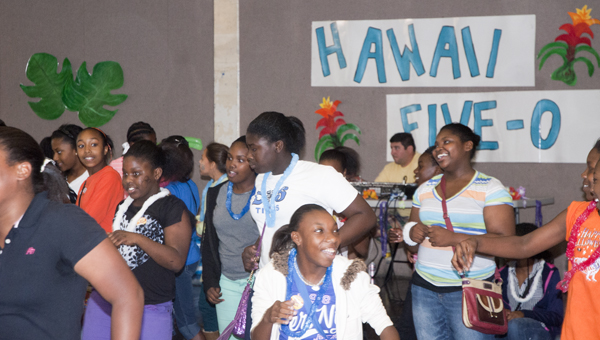 Demopolis Middle School students were recognized at the school's Hawaii 5-0 event for perfect attendance and no disciplinary problems in the first 50 days of school.