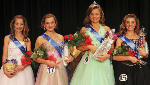Harley Johnston, second from right, is the 2013-14 Miss DMS. Shown with Johnston, from left, are Taylor Langley, third alternate; Ellie Brown, second alternate; and Sally Mackey, first alternate.